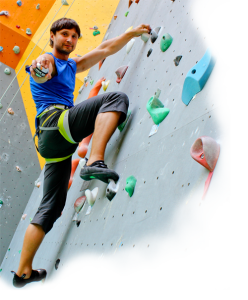 Wrist rehab man on climbing wall, wrist fracture rehab