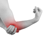 Elbow Pain image, man holding sore elbow