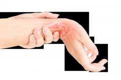 Wrist Pain, Wrist rehab image with sore wrist showing wrist bones